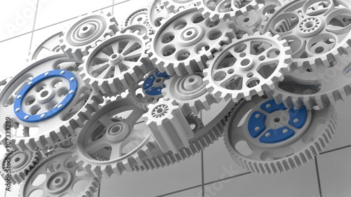 Mechanism, white metallic gears and cogs at work on white background. Industrial machinery. 3D illustration. 3D high quality rendering.