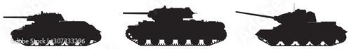 Photo  Tank army vector silhouettes, WW2 Soviet Russian T-34 76 medium tank, KV-1 heavy