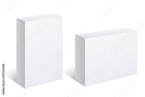 Fototapeta Realistic White Package Box. For Software, electronic device and other products. Vector illustration. obraz