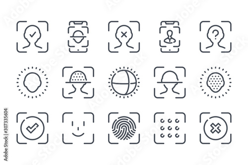 Photo Face identification and recognition related line icon set