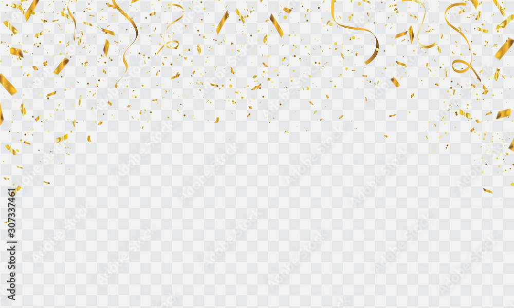 Fototapeta Celebration background template with confetti and gold ribbons. luxury greeting rich card.