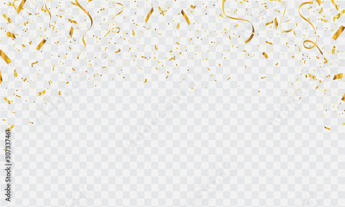 Celebration background template with confetti and gold ribbons. luxury greeting rich card.
