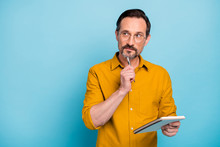 Portrait Of Serious Focused Man Write Essay In His Copy Book Think Thoughts Contemplate Wear Modern Clothes Isolated Over Blue Color Background