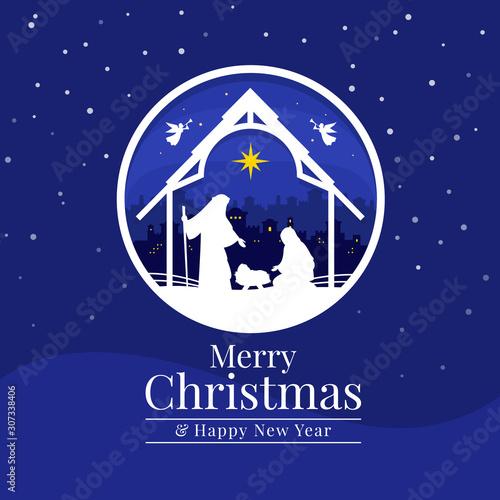 Obraz na plátně Merry christmas - Christmas the savior is born with Nightly christmas scenery ma