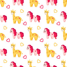 Valentine Day Seamless Pattern - Kawaii Baby Giraffe With Cute Face, Lovely Pink Unicorn And Hearts, Happy Cartoon Flat Character, Background Or Texture For Print, Textile, Wrapping Paper