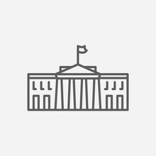 White House Icon Line Symbol. ...