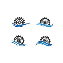 Water Mill Logo Vector Icon Co...