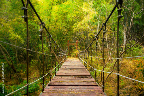Cable wire bridge (with broken wooden floor) is crossing over the abyss on trekking route Canvas Print
