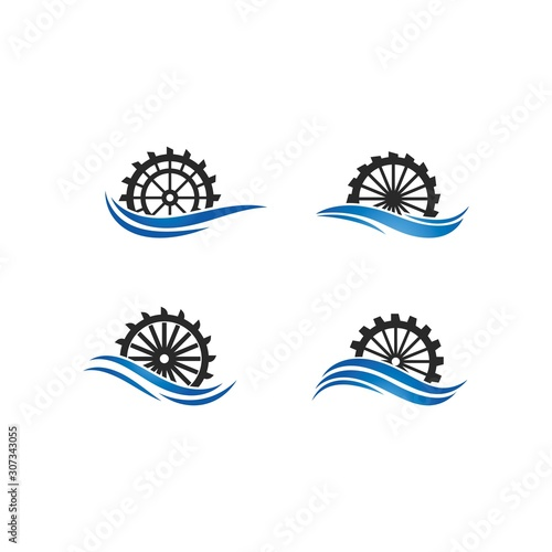 Carta da parati Water mill logo vector icon concept illustration design