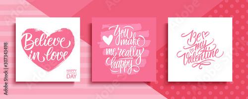 Canvas Print Valentines Day romantic cards set