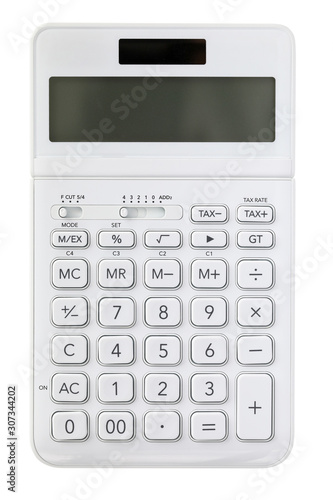 White digital calculator isolated over white background - 307344202
