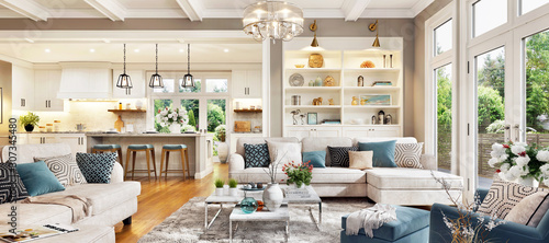 Luxurious interior design living room and white kitchen. Open plan interior.