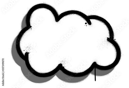 Photo graffiti cloud with drop shadow sprayed in black over white