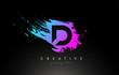 D Artistic Brush Letter Logo Design in Purple Blue Colors Vector