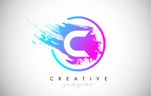 C Artistic Brush Letter Logo D...