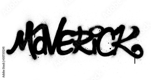graffiti maverick word sprayed in black over white Wallpaper Mural