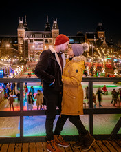 Couple Ice Rink Amsterdam December Netherlands
