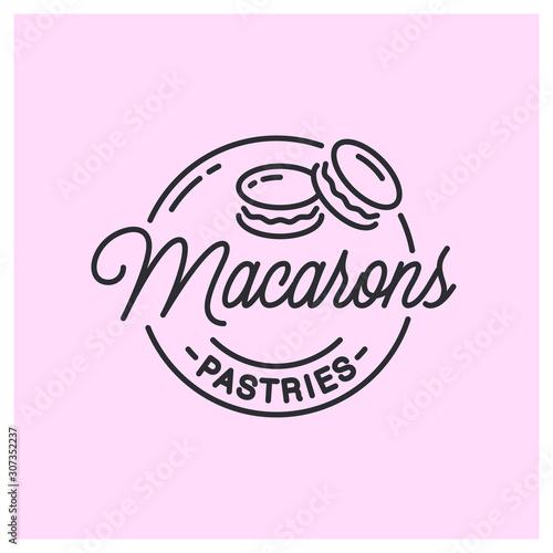 Obraz na plátně Macarons logo. Round linear logo of macarons