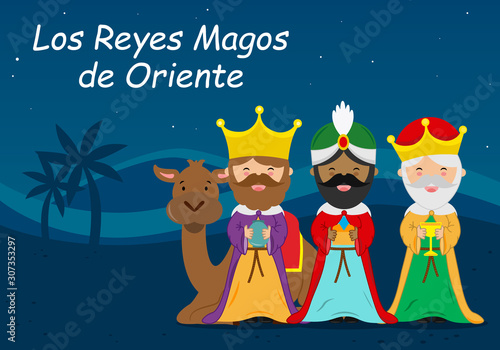 Photo Card of the three wise men. Spanish text Three Wise Men