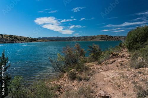 Shoreline vista of Bill Evans Lake in New Mexico. Canvas Print