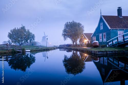 Windmills of the Zaanse Schans a windmill village near Amsterdam Netherlands Canvas Print
