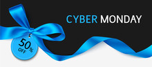 Cyber Monday Sale Design Template. Black Banner With Blue And Long Ribbon. Vector Illustration