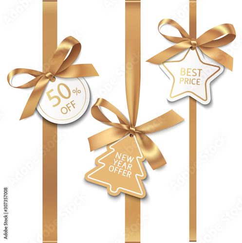 Spoed Foto op Canvas Wanddecoratie met eigen foto Set of New year sale decorations. Golden bow with price tag. Vector illustration
