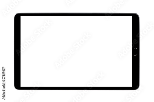 Obraz Black tablet, isolated on white background - fototapety do salonu