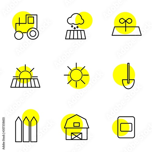 Photo Agro, agrarian, farming. Agricultural icons, agro icons.
