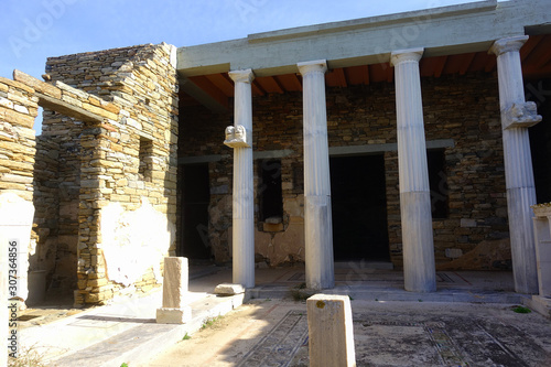 Iconic and amazing archaeological site in uninhabited island of Delos, Cyclades, Wallpaper Mural