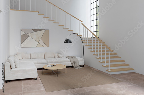 Fotografija Two-light white living room with the stairwell, corner sofa, coffee table, lamp, and carpet