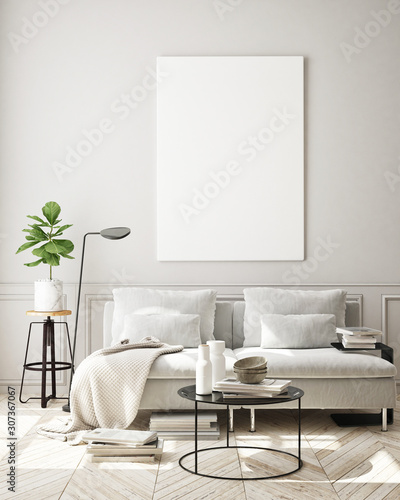 Fototapeta mock up poster frame in modern interior background, living room, Scandinavian st