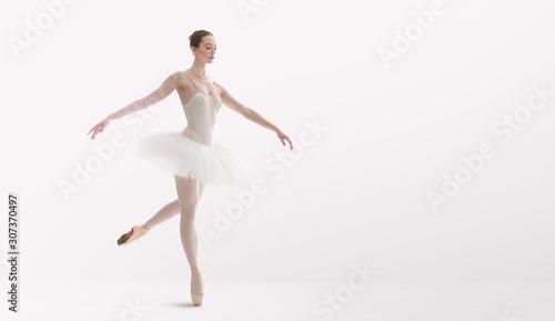 Obraz na plátně Classical ballet dancer in tutu skirt practicing dancing pas