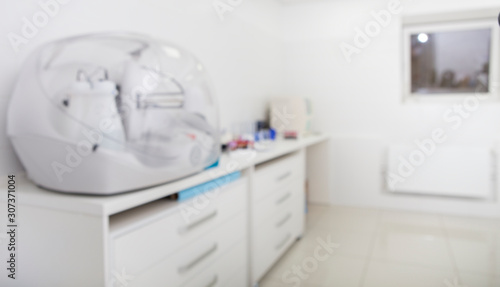 Blurred Medical interior with modern equipment for scientific researches