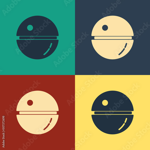 Color Death star icon isolated on color background. Vintage style drawing. Vector Illustration