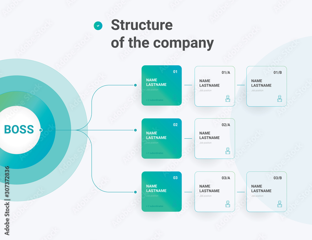 Fototapeta Structure of the company. Business hierarchy organogram chart infographics. Corporate organizational structure graphic elements.