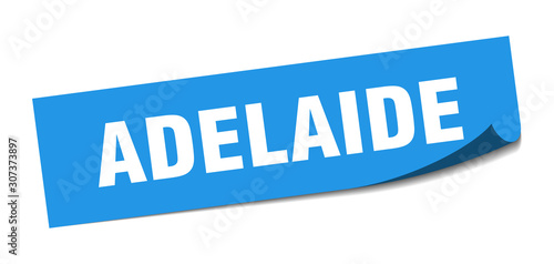 Photo Adelaide sticker. Adelaide blue square peeler sign