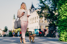 Woman Walking Down The Street With Small Brown Dog