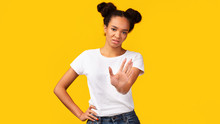 Young Black Woman Showing Stop...