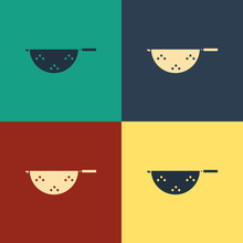 Color Kitchen Colander Icon Isolated On Color Background. Cooking Utensil. Cutlery Sign. Vintage Style Drawing. Vector Illustration