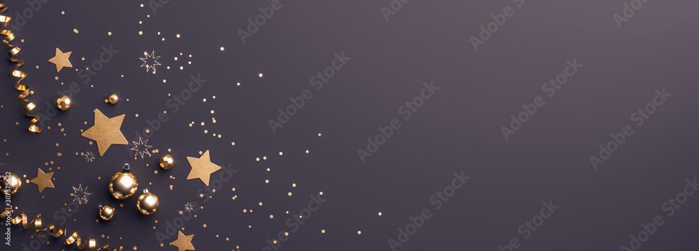 Fototapeta 3d Rendering von Weihnachtsdeko und Christbaumkugeln zu Weihnachten für Werbung im Web mit Textfreiraum oder Copy-space im Querformat