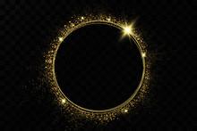Golden Ring.Vector Luxury Sparkling Frame.Christmas Decoration.