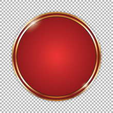 Round Red Banner With Golden Frame