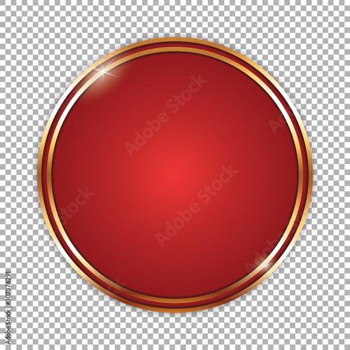 Vászonkép round red banner with golden frame