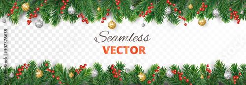 Fototapeta Vector Christmas decoration. Christmas tree border with holly berry and ornaments obraz na płótnie