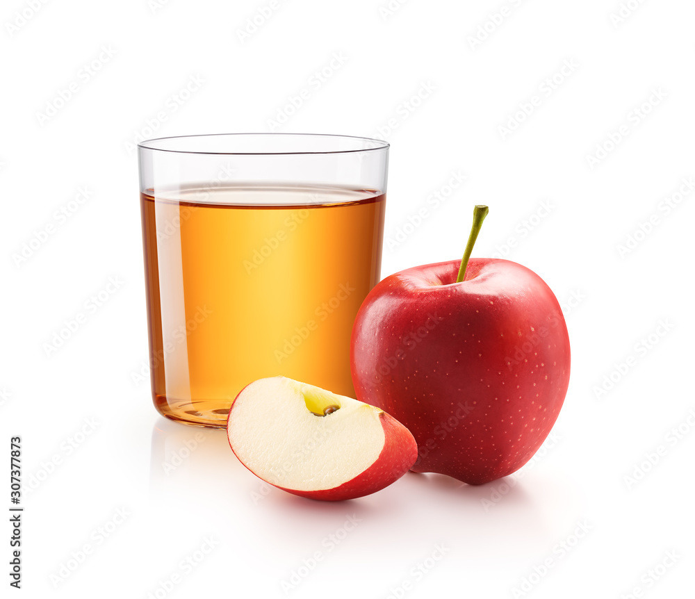 Fototapeta A glass of apple juice with red apples isolated on white background