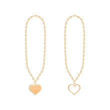 Gold Heart Locket With Chain Isolated On White Background. Vector Illustration.
