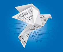 Origami Dove With Musical Note...