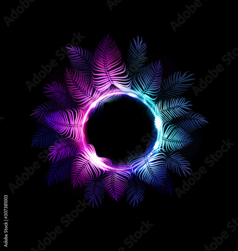 Tropic neon jungle night summer vector background. Hawaiian party. Dark tropical exotic illustration with palms and light neon circle for beach nightclub poster or sign, for edm music summer festival.