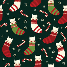 Christmas Cats Seamless Vector Background With Kittens In Stockings, Candy Canes. Repeating Holiday Pattern Red White Green. Scandinavian Style For Kids Fabric, Decor, Packaging, Gift Wrap
